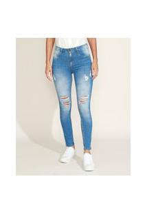 Calça Jeans Feminina Sawary Super Skinny Cintura Alta Destroyed Azul Claro