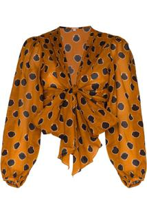 Johanna Ortiz Pioneer Tie-Front Cotton-Voile Blouse - Marrom
