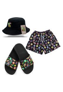 Chinelo Slide Short Masculino E Chapéu Bucket Jogo Super Mario Bros Preto