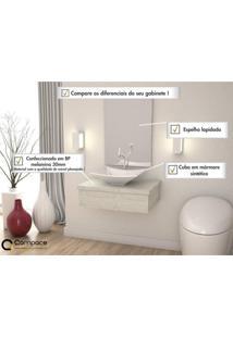 Conjunto Para Banheiro Gabinete Com Cuba Folha L38 E Espelheira 601W Metrópole Compace Snow