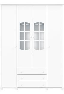 Guarda-Roupa 4 Portas Mamma Branca-Acetinado Matic Móveis