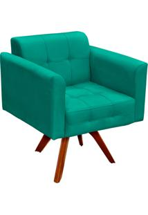 Poltrona Decorativa Giratória Gran Elisa Base Madeira Suede Verde Tiffany - D'Rossi