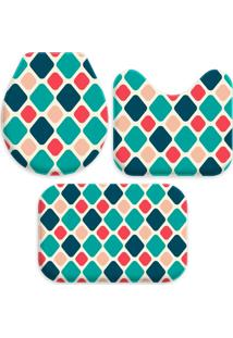 Jogo Tapetes Love Decor Para Banheiro Geométrico Multicolorido Único