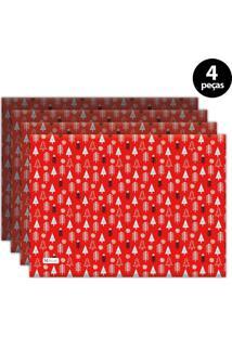 Jogo Americano Mdecore Natal Pinheiros 40X28 Cm Vermelho 4Pçs