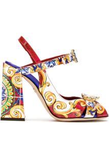 Dolce & Gabbana Sandália Estampada Com Salto Bloco - Estampado