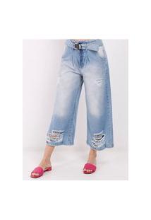 Calça Jeans Pantacourt Feminina Azul