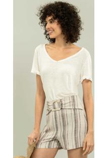Blusa Decote V Less Is More Branco Off White - Lez A Lez
