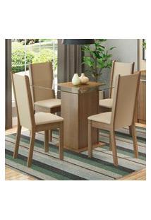 Conjunto Sala De Jantar Madesa Giulia Mesa Tampo De Vidro Com 4 Cadeiras Marrom