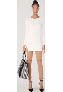 Blusa Manga Longa Lateral Fenda Off White