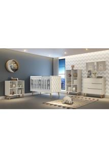 Dormitório Analu Guarda Roupa Comoda Montessoriana Comoda 3 Gavetas Berço Lorena C/ Capitone Branco/Madeira Carolina Baby - Tricae