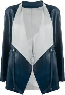 Suprema Wrap-Front Leather Jacket - Azul