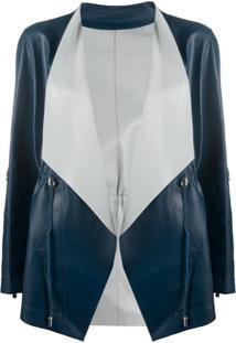 Suprema Jaqueta Com Transpasse De Couro - Azul