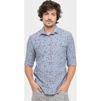 c4ad4c7d9 Camisa Colcci Manga Longa Liberty Vintage - Masculino-Azul