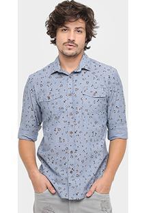 Camisa Colcci Manga Longa Liberty Vintage - Masculino-Azul