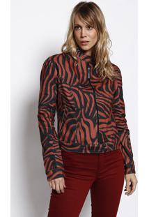Jaqueta Em Sarja Com Recorte- Vermelho Claro & Pretamorena Rosa