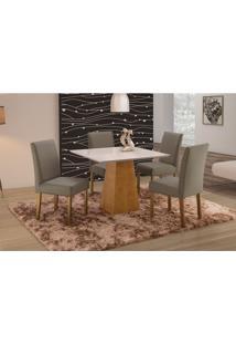 Conjunto De Mesa De Jantar Com 4 Cadeiras E Tampo De Madeira Maciça Turquia Iv Suede Cinza E Off White