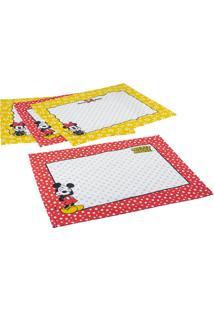 Jogo Americano 4 Peças Estampado Mickey E Minnie 30 Cm X 41 Cm - Lepper