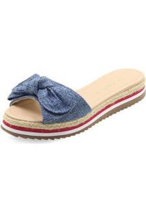 Sandália Salto Baixo Mariotta Tecido Feminino 18465-08 - Feminino-Azul