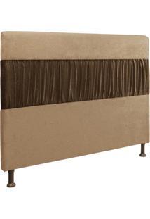 Cabeceira Casal Queen 160Cm Para Cama Box Isabela Suede Bege/Marrom - Ds Móveis