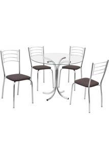 Conjunto Mesa + 4 Cadeiras Fil Renata, Tabaco - 191139