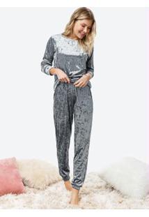 Pijama Cinza Longo Veludo Molhado