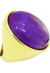 Anel Pedra Natural Redonda Ametista