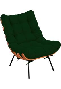 Poltrona Decorativa Sala De Estar Costela L02 Suede Verde Musgo - Lyam Decor