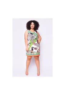 Vestido Almaria Plus Size Ela Linda Curto Estampado Verde