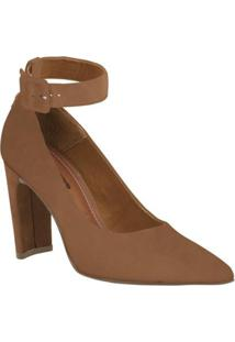 Sapato Bottero Scarpin Couro Nobuck Feminino - Feminino-Caramelo