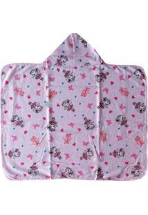 Toalha De Banho Infantil Com Capuz -Ursinha - Rosa