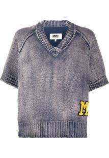 Mm6 Maison Margiela Blusa De Tricô Com Patch De Logo - Azul