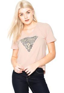 Camiseta Guess Animal Print Glitter Rose