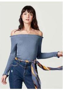 Blusa Ombro A Ombro Em Tricô Canelado Azul