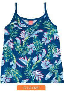 Blusa Azul Tropical Em Viscose Conforto