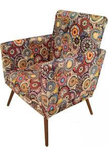 Poltrona Decorativa Pã©S Palito Nina Suede Mosaico - Ds Mã³Veis - Bege - Dafiti