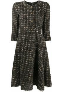 Dolce & Gabbana Vestido Evasê De Tweed - Marrom