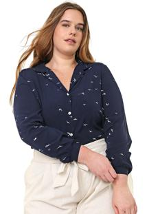 Camisa Lnd Lunender Mais Mulher Plus Estampada Azul-Marinho/Branca