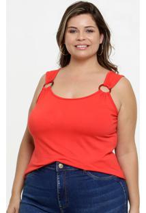 Blusa Feminina Argola Plus Size Alças Finas