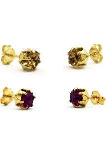 Conjunto 2 Brincos Horus Import Ponto De Luz Banhado Ouro Amarelo 18K - Kit10554 - Dourado
