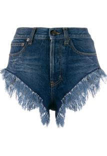 Saint Laurent Short Jeans Com Franjas - Azul
