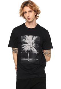 Camiseta Quiksilver Estampada Preta