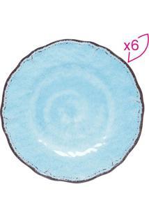 Jogo De Pratos Texturizados- Azul & Marrom- 6Pçsrojemac