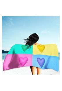 Toalha De Praia / Banho Colorful Hearts Único