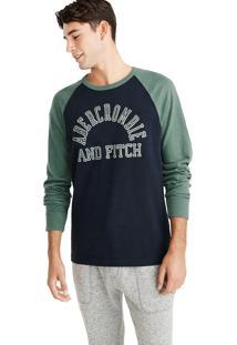 Camiseta Manga Longa Abercrombie Gráfica Azul Marinho/Verde