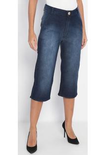Jeans High Wide Cropped- Azul Escuro- Lança Perfumelança Perfume