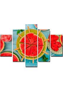 Quadro Painel Mosaico Decorativo 5 Partes Melancia