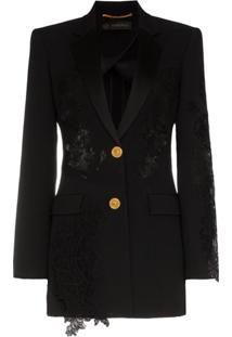 Versace Blazer Com Recorte De Renda - Preto