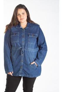 Jaqueta Jeans Parka Feminina Plus Size Bolso Cargo - Feminino-Azul