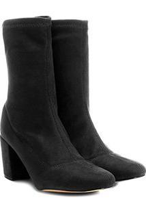 Bota Meia Cano Médio Shoestock Stretch Salto Grosso Feminina - Feminino-Preto