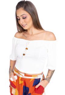 Blusa Up Side Wear Ciganinha Com Lacinho Branca